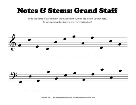 Note Identification Worksheet by Notes Stems Worksheet Pianimation