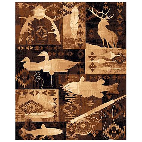 deer area rug goose fish and deer area rug 226531 rugs at sportsman s guide
