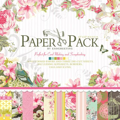 Floral Craft Paper - 12 x12 paper pack vintage flowers scrapbooking craft paper
