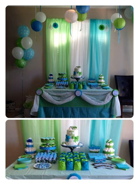 our baby shower desert table blue green white theme for
