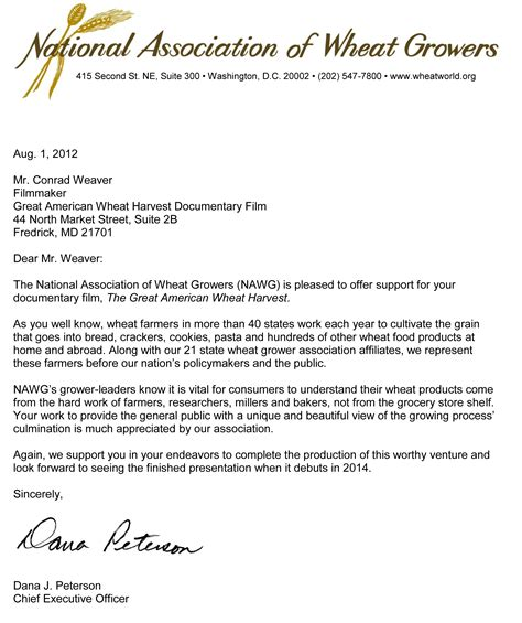 Thank You Letter Boss For Congratulations letters of support and congratulations great american wheat harvest