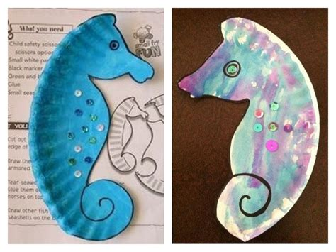 seahorse crafts for paper plate seahorse template
