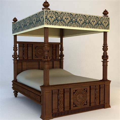 Vintage Canopy Bed Antique Canopy Bed 3d Model Max Obj 3ds Fbx Cgtrader