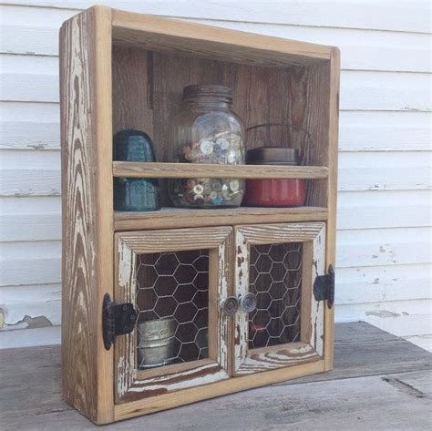 diy barn wood spice rack reclaimed wood cabinet chicken wire decor kitchen shelf