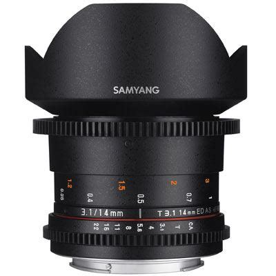samyang 14mm t3.1 ed as if umc ii vdslr cine lens for
