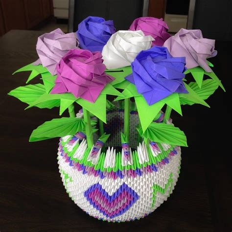 Origami Flower Basket - bouquet of kawasaki roses in a 3d origami basket by