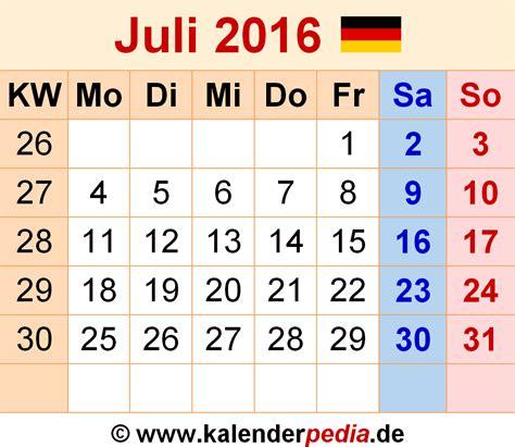 Kalender 2016 Juli Kalender Juli 2016 Als Excel Vorlagen