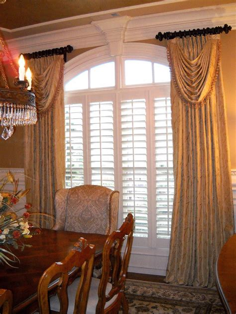 dining room window valances windowtreatments ring curtains with swags in gold silk