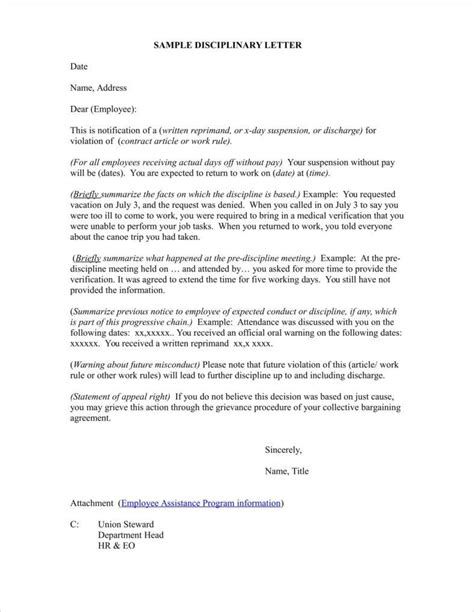 employee warning letter template employee warning letter template