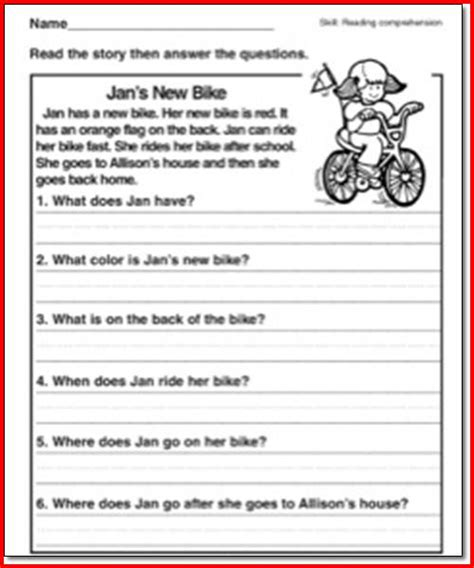 Reading Comprehension Worksheets 1st Grade by Worksheet For Grade 1 Comprehension Reading And