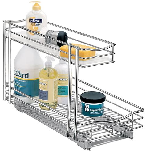 under sink organizer deep pull out under sink organizer chrome in pull out