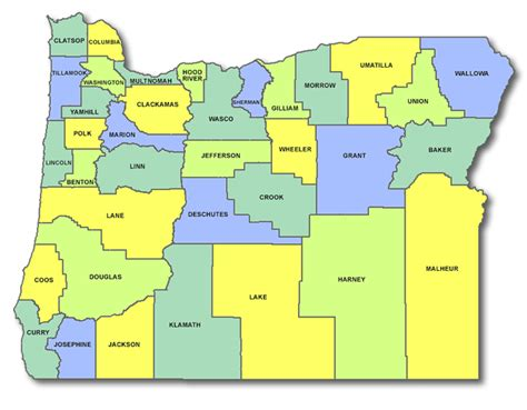 map of oregon with counties oregon cart licensing county state and
