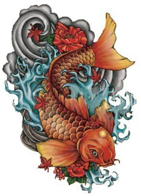 temporary tattoo koi fish fish temporary tattoo koi goldfish large size by