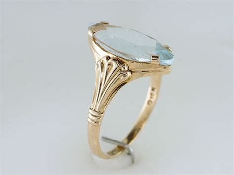 vintage antique 3ct aquamarine yellow gold