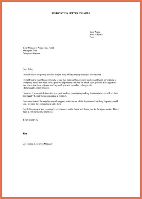 resignation letter examples   bio example