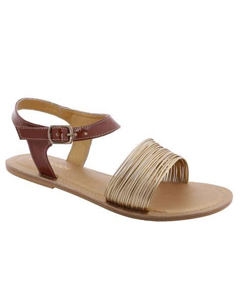 Faux Leather Flat Sandals peterpapa brown faux leather flat sandals price in india