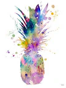 pineapple painting by watercolor