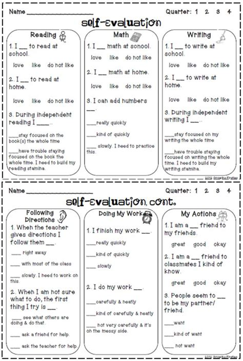 student self evaluation templates 25 best ideas about student self evaluation on