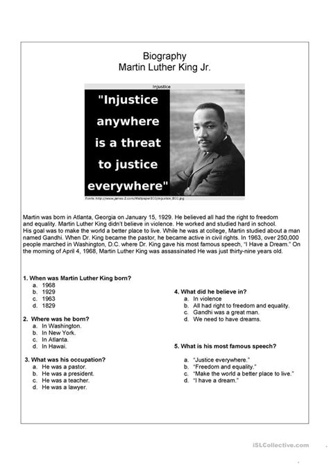 biography exercise quiz worksheet martin luther king worksheets free grass fedjp