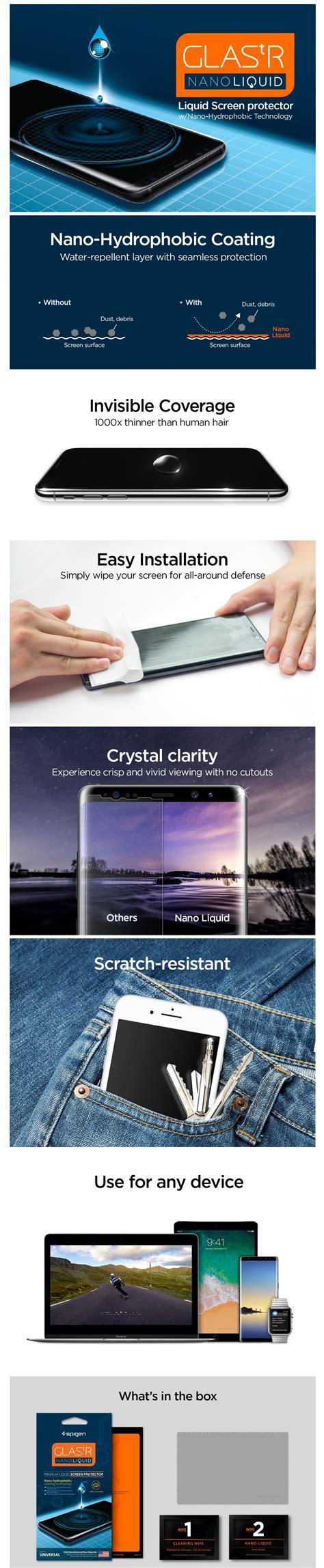 Original Spigen Screen Protector Glas Tr Nano Liquid Universal Sp universal screen protector quot glas tr nano liquid quot spigen