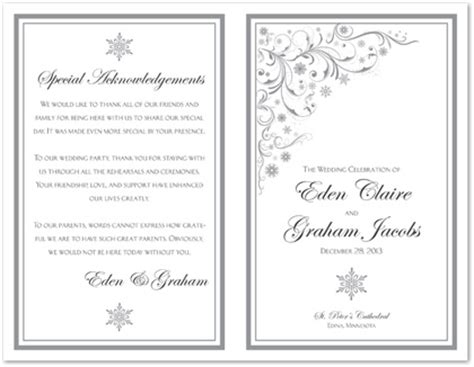 Snowflakes And Scrolls Bi Fold Template Downloadble Stationery 35509 Bi Fold Wedding Program Template