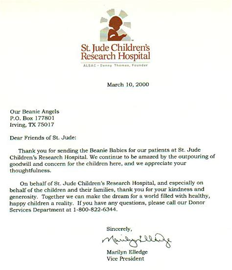 Donation Letter For Hospital Our St Jude S Children S Hospital Donation