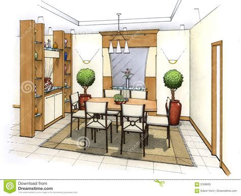 Sketch Of Dining Room by Dining Room Royalty Free Stock Photo Image 3168635