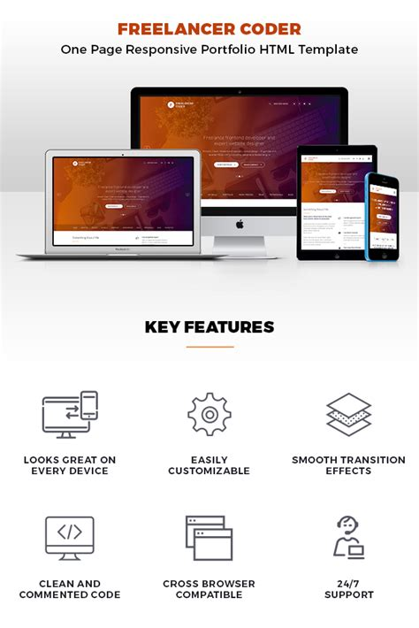 freelancer coder one page responsive html template