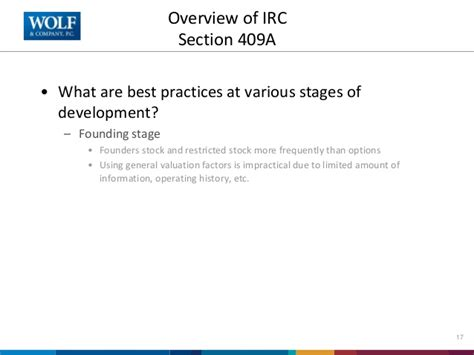 irc section 409a know your valuation for equity compensation and avoid the