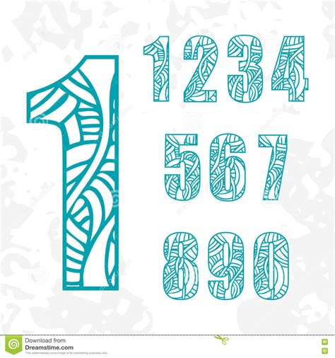 doodle numbers set of doodle numbers with abstract pattern stock vector