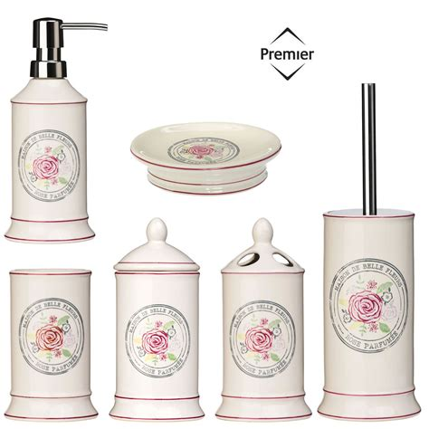 accessori bagno shabby chic bathroom accessories bath dispenser storage set ceramic