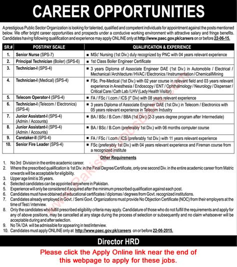 Sunday Mba Salary by Pakistan Atomic Energy Commission Careers June 2015 Paec