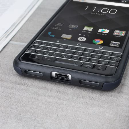 official blackberry keyone dual layer hard shell case black
