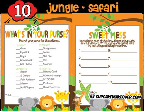 Wall Stickers Baby Boy jungle baby shower game package instant download