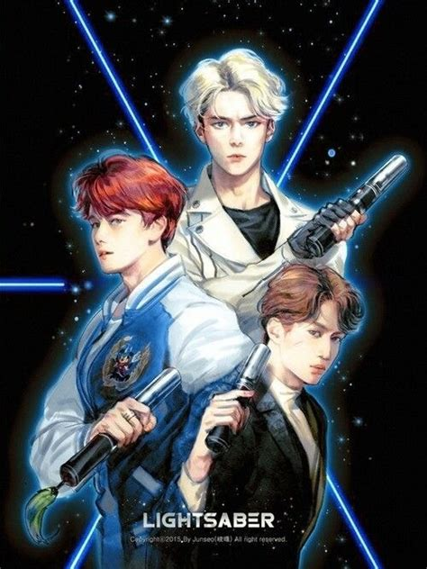 wallpaper exo lightsaber exo kpop fanart kpop image 3880510 by marine21 on