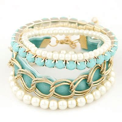 Set Kalung Anting Korean Fashion Multilayer Design Studs Earring Necklace Jewelry Set Green fit blue metal chains decorated multilayer design alloy korean fashion bracelet asujewelry