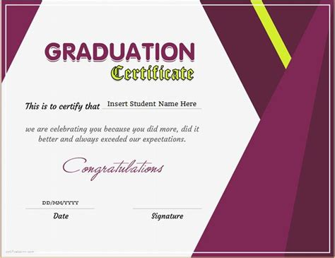 graduation certificate template graduation certificate templates for ms word