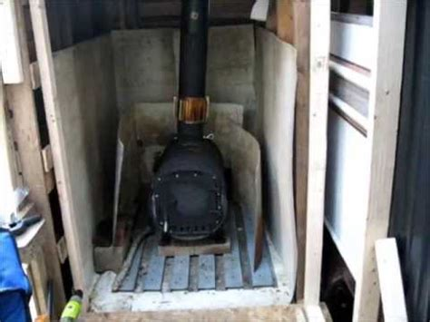 installing heat shielding   stove shed  survival