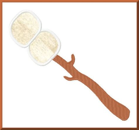 marshmallow stick toasted marshmallow on a stick applique design for