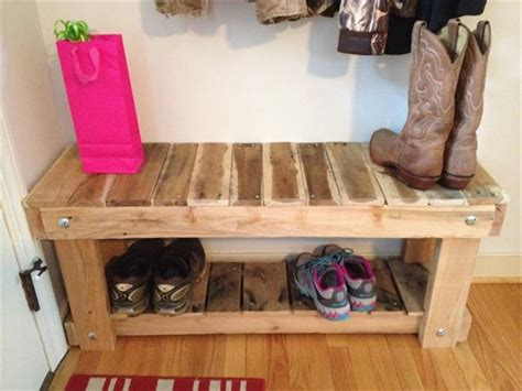 how to build a shoe organizer for entryway diy pallet entryway bench and shoe rack 101 pallets