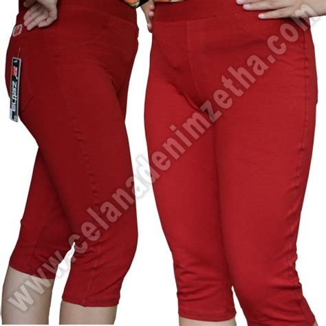 Celana Zetha Denim Warna Burgundy Size celana zetha denim 3 4 warna marun celana denim zetha