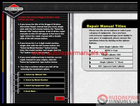 small engine repair manuals free download 2009 infiniti qx56 lane departure warning briggs stratton interactive repair manuals cd auto repair manual forum heavy equipment