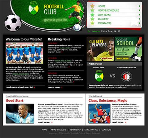 info website soccer club website template