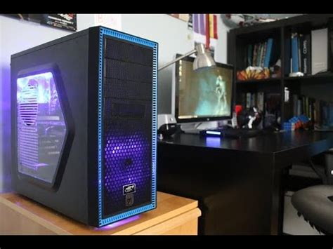 black  blue gaming pc build deepcool tesseract youtube