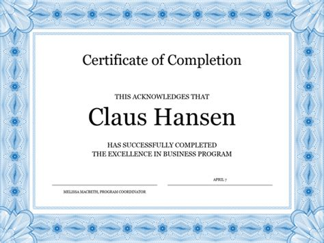 certificate of completion blue office templates