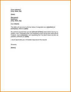 Letter Of Resignation With Notice by 3 Letter Of Resignation With One Month Notice Expense Report