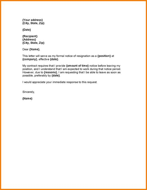 Resignation Letter Notice Exle 3 Letter Of Resignation With One Month Notice Expense Report