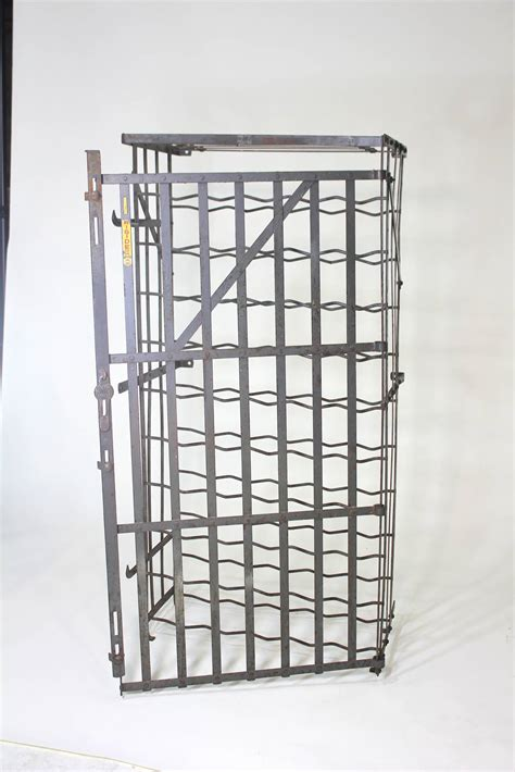scarce industrial 50 bottle locking wine rack cage