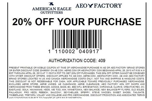 american eagle coupon 20
