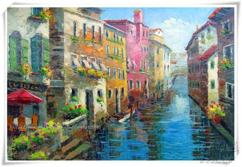 Lukisan Gondola venice painting italian landscape painting on